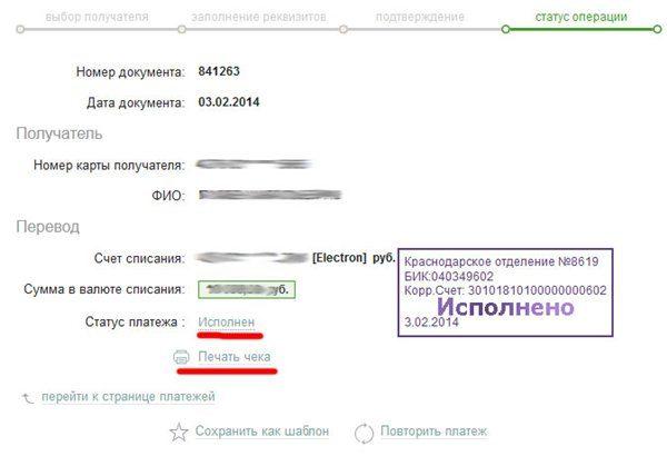 Скриншот страницы платёжной системы