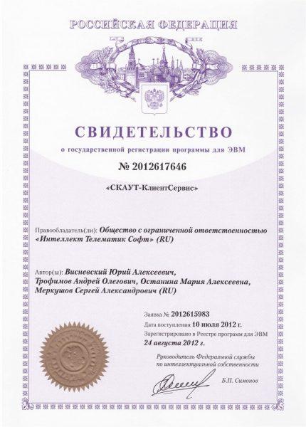 Свидетельство о регистрации авторских прав на программу для ЭВМ