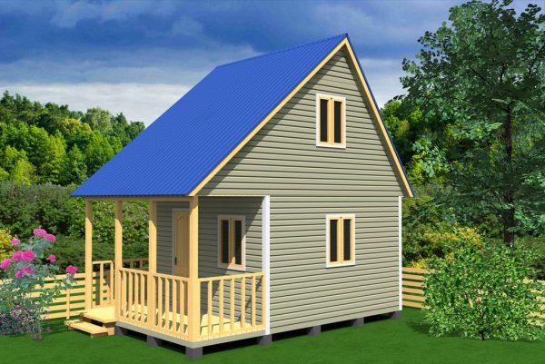 Дачный домик с синей крышей