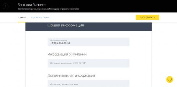 Анкета Тинькофф для ИП