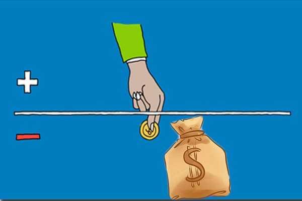 Схематичное изображение руки и мешка с деньгами