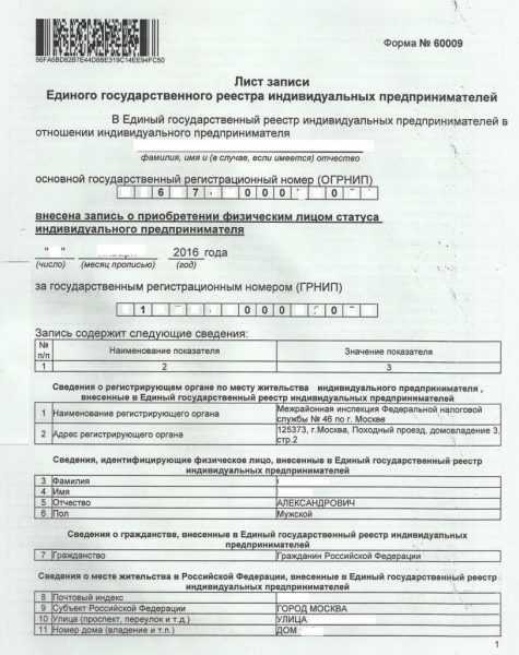 Титульная страница листа записи ЕГРИП