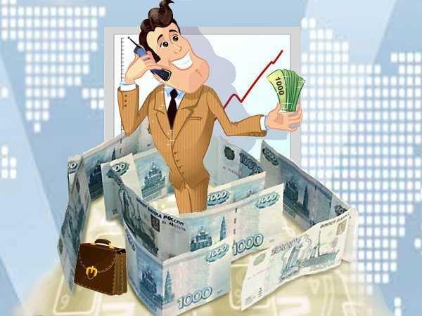 мужчина в жёлтом пиджаке и галстуке, с телефоном, в окружении денег