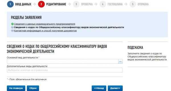 Скрин сайта ФНС РФ, онлайн-регистрация ИП, шаг № 7