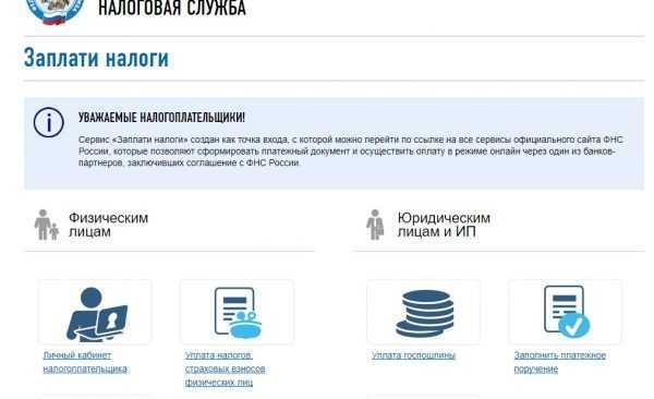 Скрин начальной страницы сайта ФНС