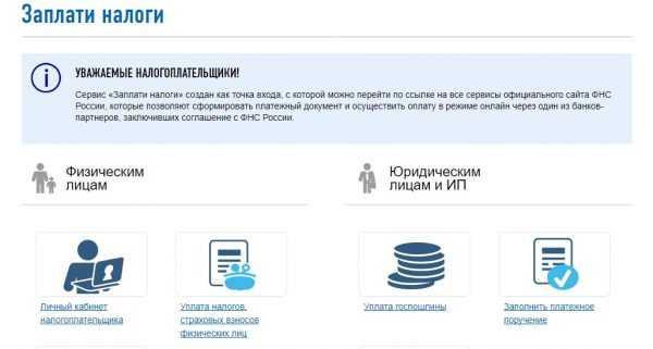 Оплата налогов на сайте ФНС России, скрин 1