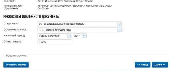 Оплата налогов ИП на сайте ФНС России, скрин 6
