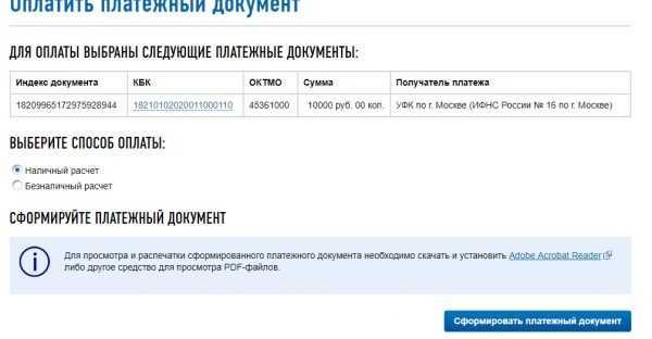 Оплата налогов ИП на сайте ФНС России, скрин 9