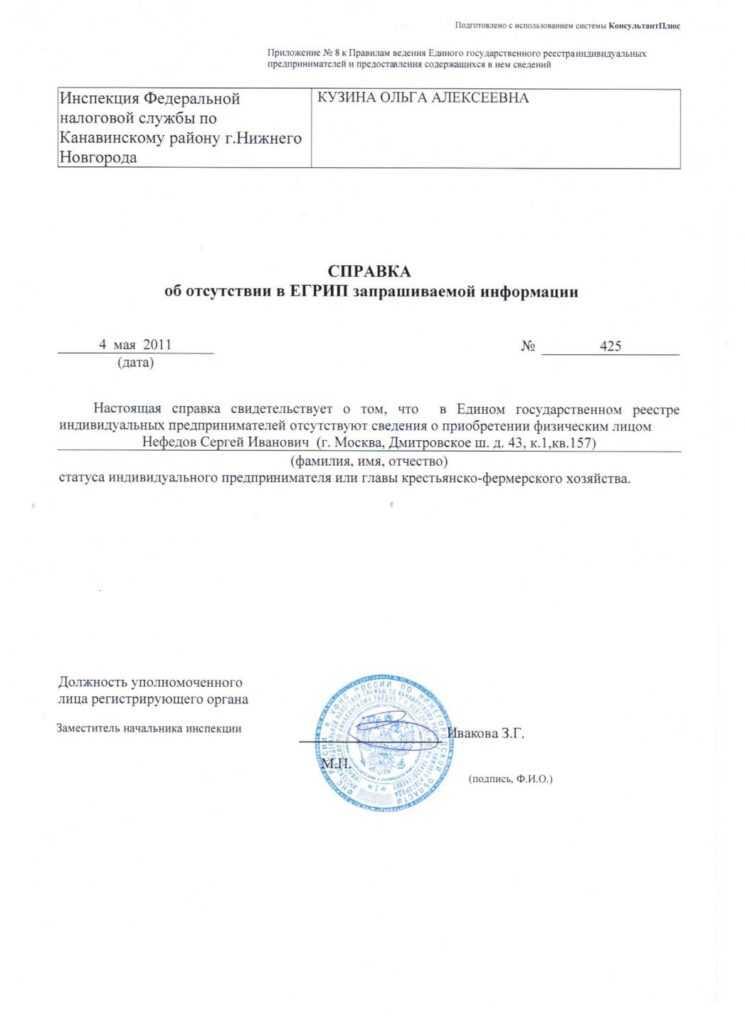 Справка об отсутствии регистрации ип в налоговой декларация 3 ндфл на транспорт