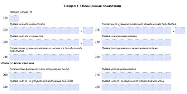 Незаполненный раздел 1 формы 6-НДФЛ