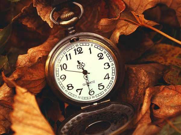 Старинные часы в желтой листве