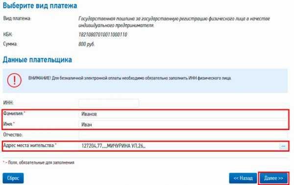 Скриншот страницы сайта ФНС для заполнения личных данных в квитанции на оплату госпошлины