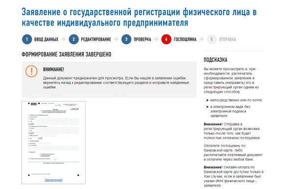 Скриншот сайта ФНС (заявление о госрегистрации ИП)