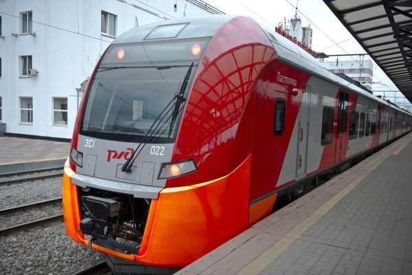 Скоростной электропоезд «Ласточка» на Курском вокзале в Москве