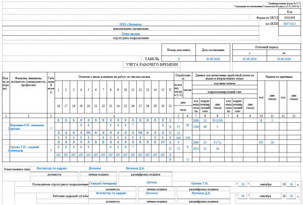 Табель учёта рабочего времени, форма Т-13
