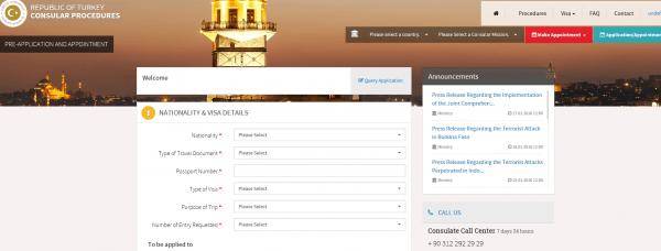 Скриншот сайта с визовой анкетой