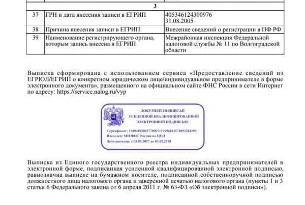 Скриншот станицы выписки из ЕГРИП, подписанной электронной подписью