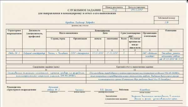 Скриншот заполненного бланка служебного задания на командировку формы Т10а