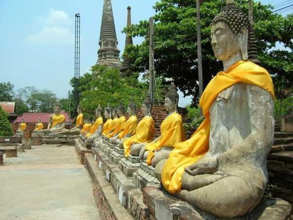 Статуи будд на фоне храма