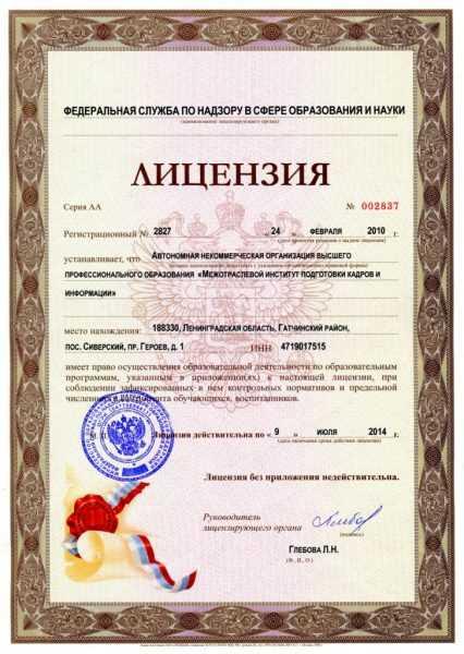 Лицензия на образовательую деятельность