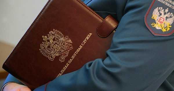 Рука инспектора ФНС РФ, держащая папку с документами