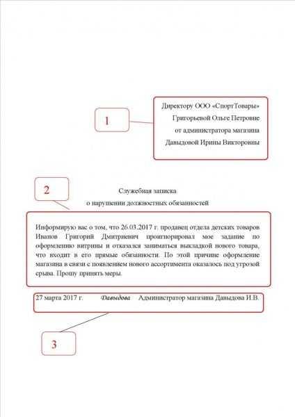 структура служебной записки