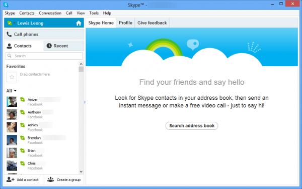 Интерфейс программы Скайп на мониторе компьютера