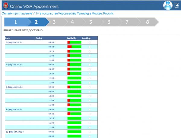 Скриншот: второй этап записи на подачу визовых документов