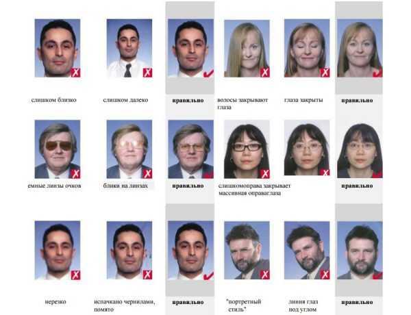 Примеры фотографий на визу с комментариями