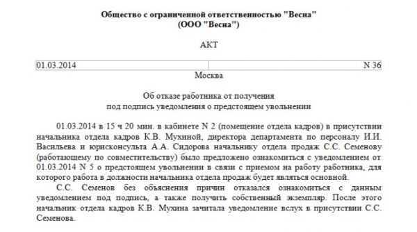 Образец акта об отказе получить уведомление об увольнении