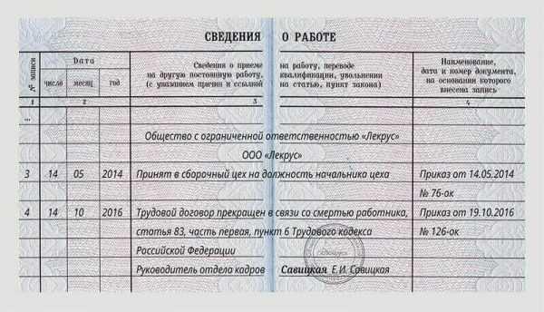 Образец записи в трудовой книжке о прекращении трудового договора в связи со смертью