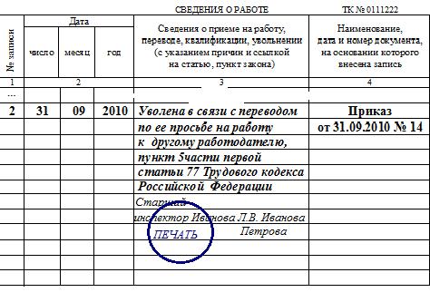 Образец записи в трудовой книжке об увольнении по переводу