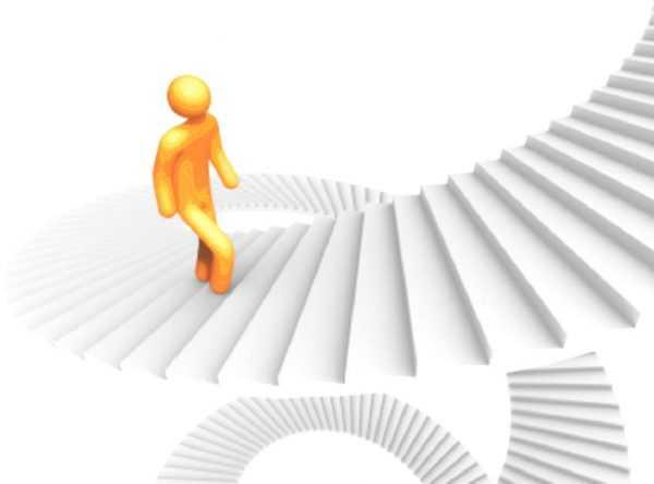 Человечек идёт по лестнице вверх