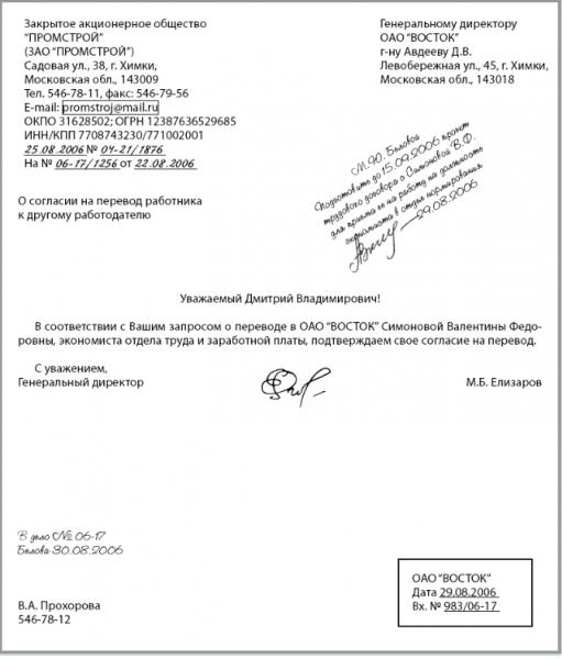 Письмо-согласие на перевод