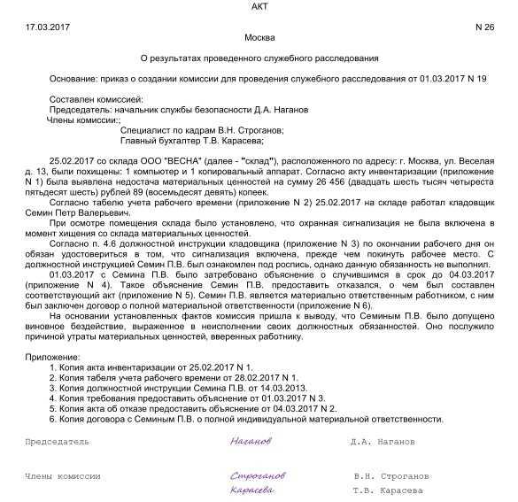 Образец акта комиссии по внутреннему расследованию