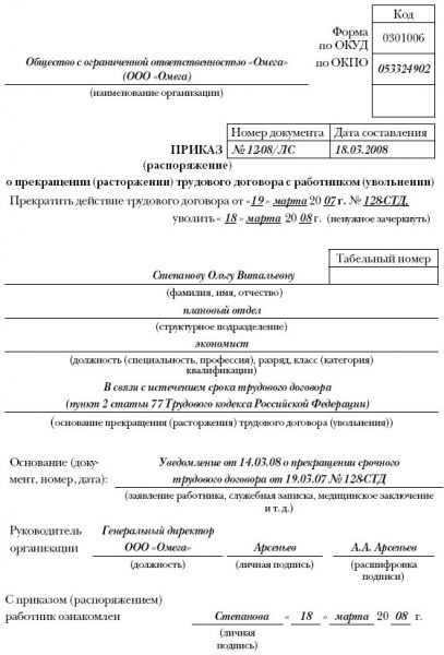 Приказ об увольнении работника в связи с истечением срока трудового договора