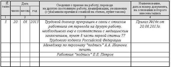 Пример записи в трудовой книжке об увольнении по состоянию здоровья