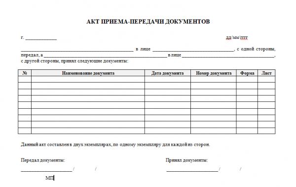 Шаблон акта приёма-передачи документов