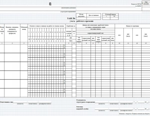 Бланк табеля учёта рабочего времени по форме Т-13