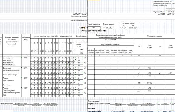 Образец заполненного табеля учёта рабочего времени