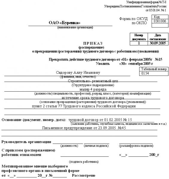 Образец приказа о прекращении срочного трудового договора