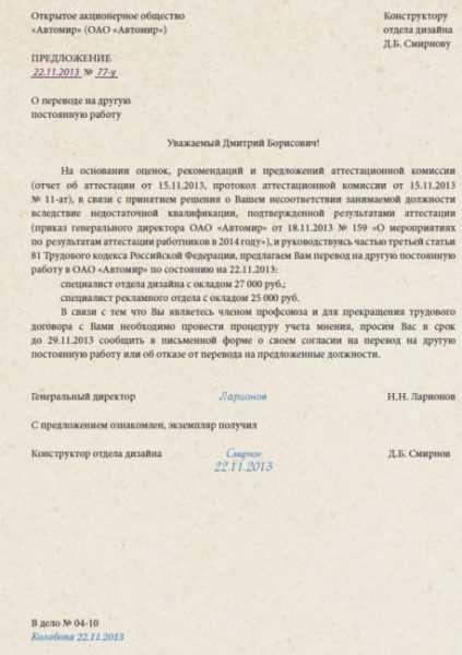 Уведомление-предложение о другой должности в связи с отрицательным прохождением аттестационной комиссии