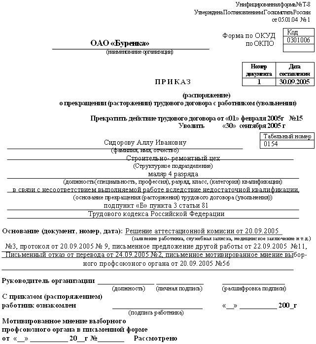незаконное увольнение работника за несоответствие занимаемой должности