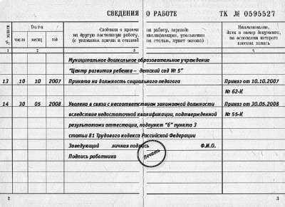 Разворот трудовой книжки с записью увольнения по статье 81, п. 3