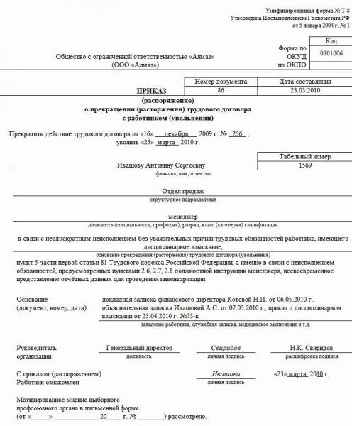 Приказ о расторжении трудового договора по статье 81 п. 5