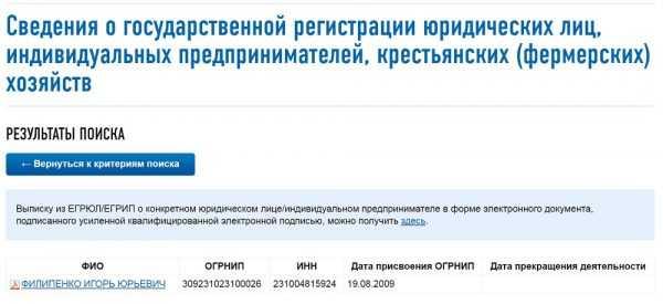 Скриншот сайта ФНС: результаты поиска