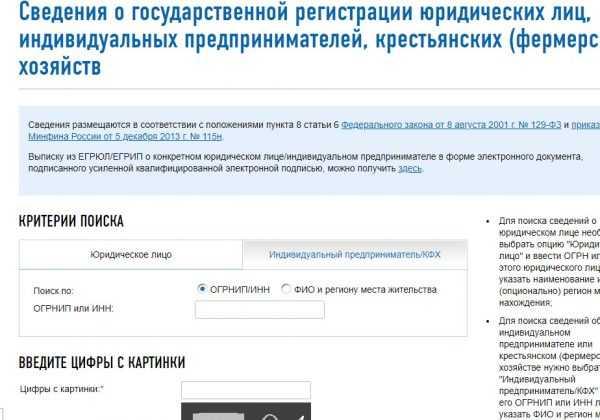 Форма поиска сервиса «Риски бизнеса: проверь себя и контрагента на сайте ФНС»