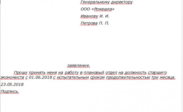 Пример заявления о приёме на работу с испытательным сроком