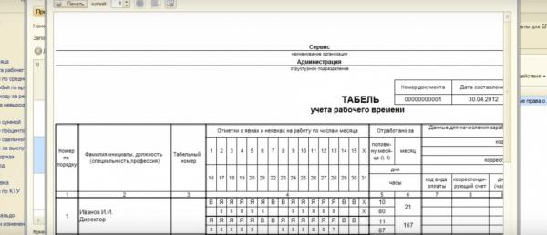 Табель учёта рабочего времени форма Т-13