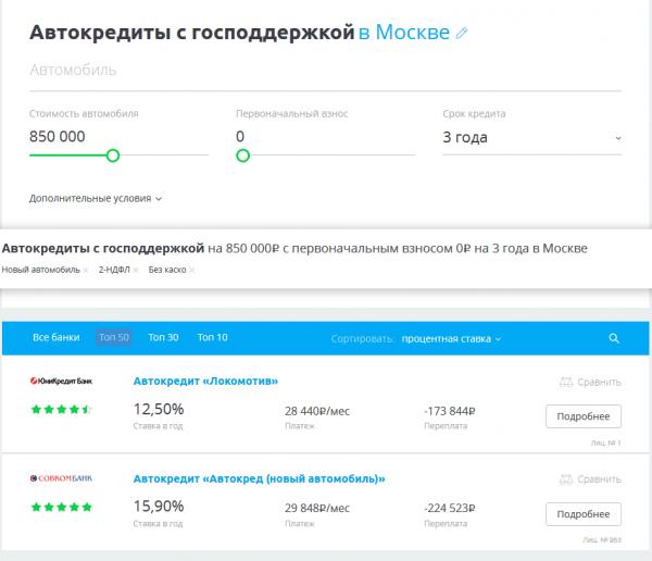 Сравни.ру: странца автокредитов с господдержкой